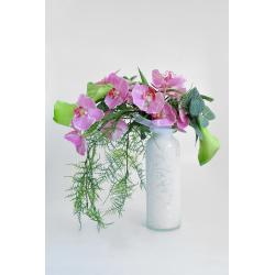 performance fiable rencontrer Site officiel Bouquet d'orchidées roses et de callas verts feuillage tombant
